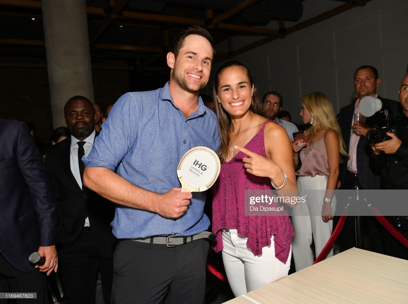 """Andy Roddick, Monica Puig And Leon Bridges Excite The Crowd With An Epic Table Tennis Match And Performance During The IHG Hotels & Resorts """"Legends, Unmatched"""" Event At Kimpton Hotel Eventi : News Photo"""