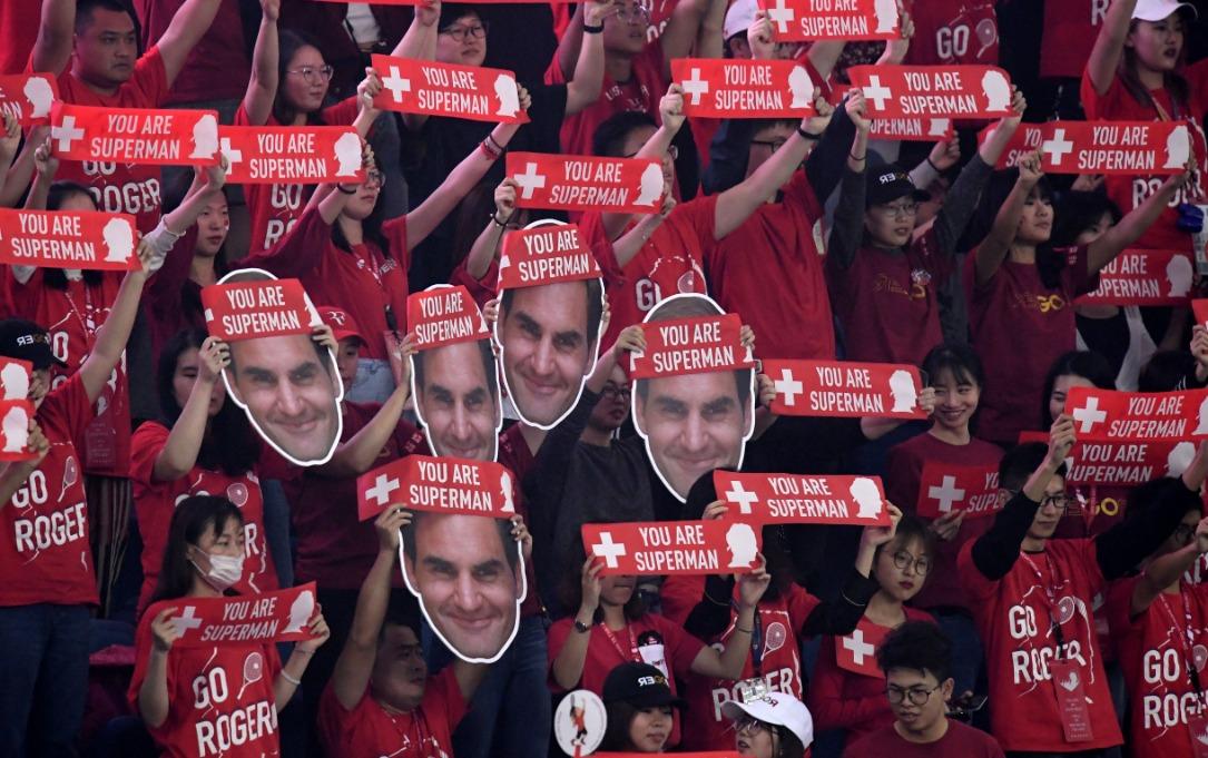 """Image result for federer superman fans in stands"""""""