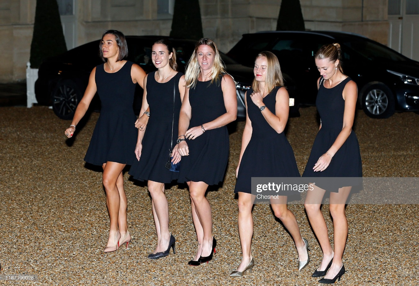 France's President Emmanuel Macron Welcomes France Tennis Players At Elysee Palace : News Photo