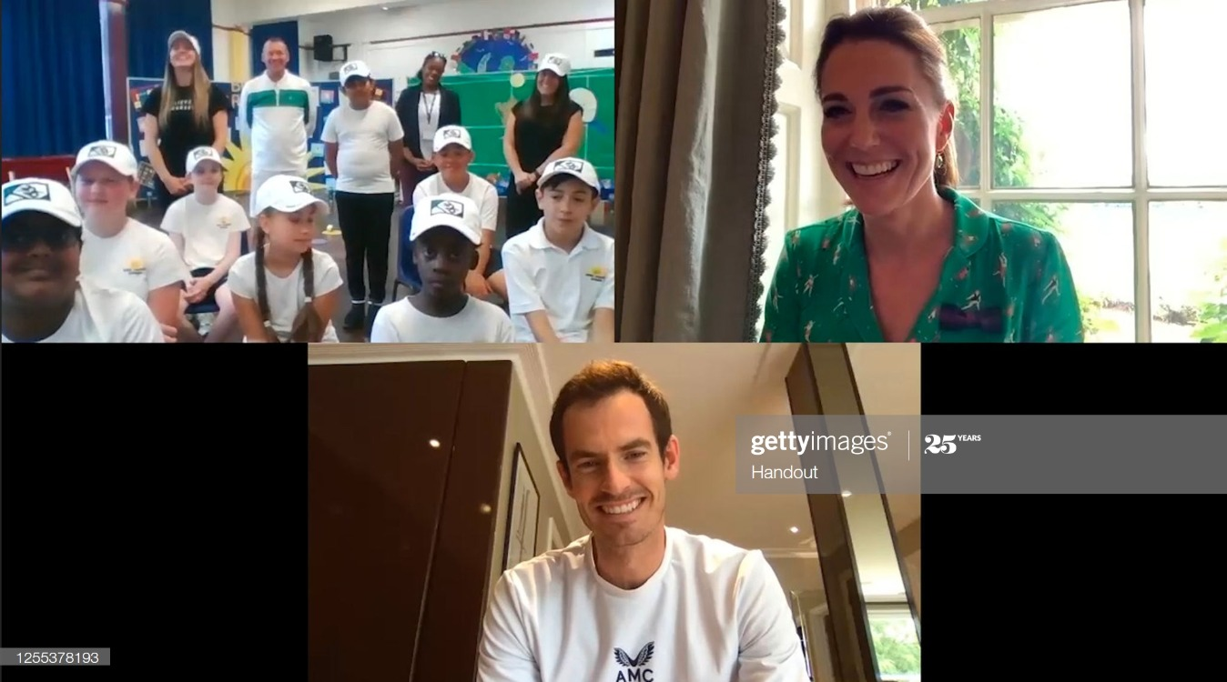 The Duchess Of Cambridge And Andy Murray Speak To Young Tennis Fans From Bond Primary School : News Photo