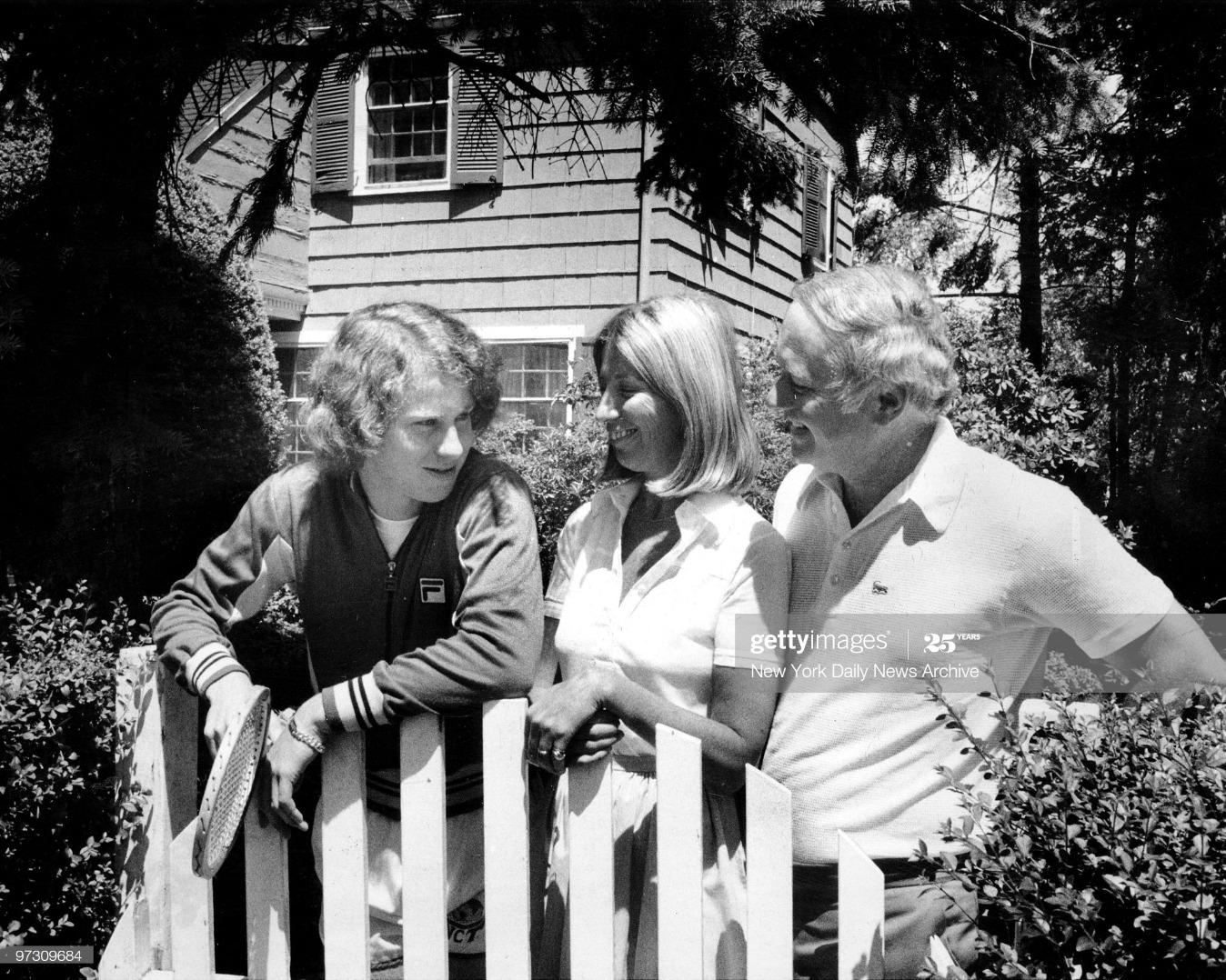 John McEnroe talks with parents outside their Douglasto home : News Photo
