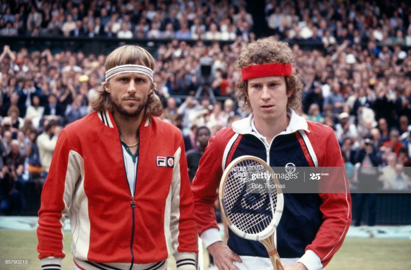 John McEnroe and Bjorn Borg In 1981 Wimbledon Championships Final : News Photo