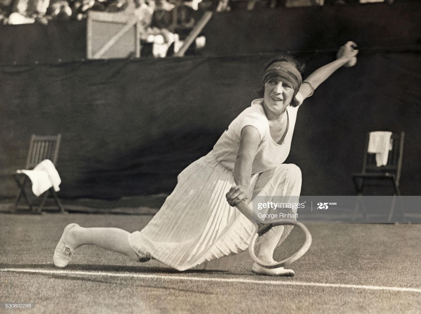 Suzanne Lenglen Reaching to Hit a Tennis Ball : News Photo