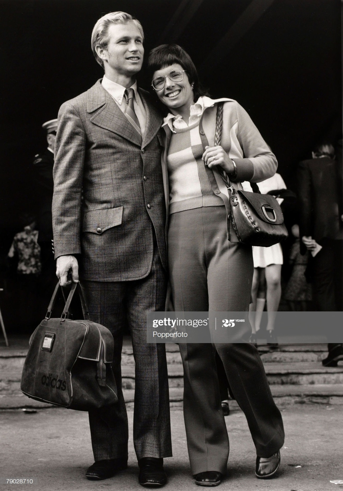 Sport/Tennis. London, England. 6th July 1972. U.S.A's Billie-Jean King at Wimbledon with her husband. She won 20 Wimbledon titles her first Singles success was when she beat Margaret Court in 1962. : News Photo