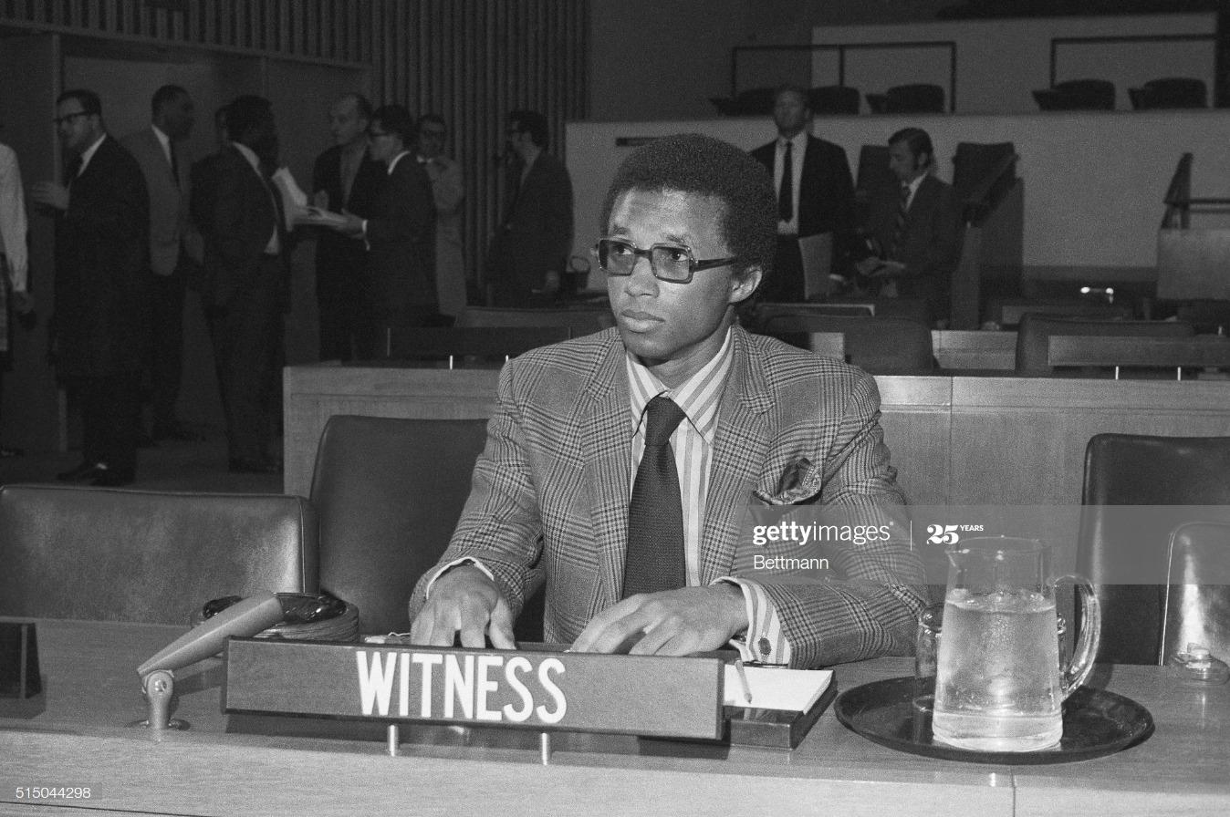 Tennis Player Arthur Ashe Testifying on Apartheid : News Photo